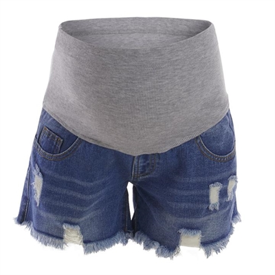 Ripped Maternity Belly Support Inelastic Denim Shorts